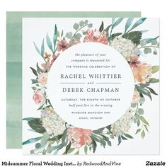 Midsummer Floral Wedding Invitation | Square Our Midsummer Floral wedding invitation in a unique square format frames your wedding details with a circle of painted watercolor roses, peonies in hydrangeas in breezy pastel shades of blush pink, peach, ivory and sage green.