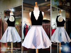 Sexy but stunning! The contrast between the black velvet V-neck and the dove gray skirt is phenomenal, and it's at Rsvp Prom and Pageant, your source for the HOTTEST Prom and Pageant Dresses!
