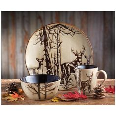 Gorgeous rustic wildlife dinnerware! I love the whitetail bucks and the trees