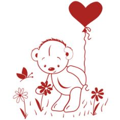 Teddy bear wall decal No14 Picking flowers