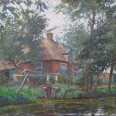 Johannes 'Johan' Dijkstra (Groningen 1896-1978) Giethoornse boerderij aan de waterkant - Kunsthandel Simonis en Buunk, Ede (Nederland).
