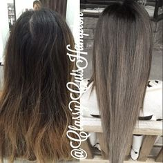 an ash brown then glazed ends with a smokey ash blonde! Best part No bleach used!