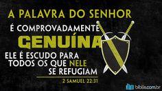 """""""a palavra do Senhor é comprovadamente genuína. Ele é escudo para todos os que nele se refugiam."""" 2 Samuel 22:31 (A Mensagem)"""