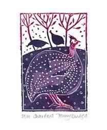 Snow Fowl  Linocut by Penny Bhadresa