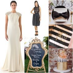black white and gold striped wedding