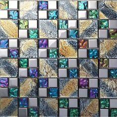 crystal glass tile backsplash iridescent glass tile mosaic D1391 kitchen backsplash cheap living room tv wall tiles