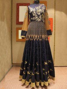 Blue Silk Wedding Gown With Resham Embroidery Work