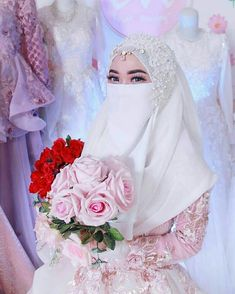 Hijabi Wedding, Muslimah Wedding Dress, Asian Wedding Dress, Muslim Wedding Dresses, Muslim Brides, Wedding Dresses For Girls, Beautiful Hijab, Beautiful Bride, Niqab