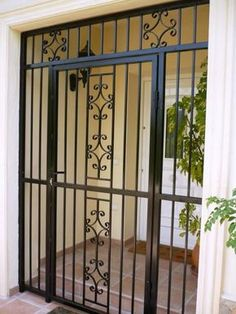 Ideas For Front Porch Stairs Ideas Iron Railings Wrought Iron Security Doors, Security Gates, Wrought Iron Doors, Security Screen, Front Porch Stairs, Screened In Porch Diy, Iron Front Door, Front Gates, Front Doors