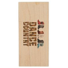 TEE Country Line Dance Wood USB Flash Drive