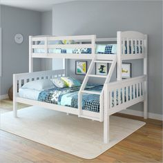 CorLiving Ashland Twin-over-Full Bunk Bed in Snow White
