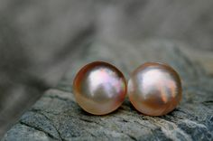 gorgeous mabe pearl stud earrings golden by FreshwaterCreation