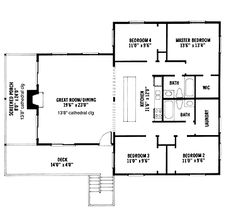 Floor Plans AFLFPW03434 - 1 Story Tidewater Home with 4 Bedrooms, 2 Bathrooms and 1,600 total Square Feet