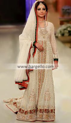 D3941 Pakistani Indian White Heavy Dresses Manchester UK, Off White Party Evening Dresses South London UK Special Offer