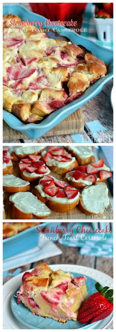 Overnight Strawberry Cheesecake French Toast Casserole | MomOnTimeout.com | #breakfast #brunch #recipe