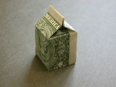 origami milk carton with a dollar bill Origami Mouse, Origami Yoda, Origami Star Box, Money Origami, Origami Dragon, Origami Stars, Origami Paper, Oragami, Folding Money