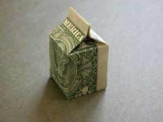 money origami milk carton