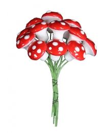 12 Medium Spun Cotton Mushrooms from Germany ~ 14mm Red