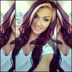 dark red hair with blonde bangs | Blonde bangs , burgundy brown