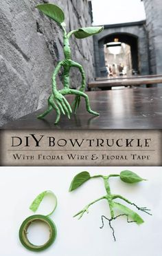 Harry Potter Costumes DIY Poseable Pickett the Bowtruckle from Fantastic Beasts and Where to Find Them! Wizarding World of Harry Potter Craft. Made out of floral tape and wire. Harry Potter Navidad, Harry Potter Fiesta, Harry Potter Weihnachten, Décoration Harry Potter, Harry Potter Thema, Harry Potter Bedroom, Harry Potter Birthday, Harry Potter Crafts Diy, Harry Potter Monster Book