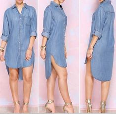 Delightful denim long sleeve irregular shirt dress to try Long Shirt Outfits, Long Shirt Dress, Jeans Dress, Long Shirts, Denim Shirt Dresses, Jean Shirt Dress, T Shirt, Shirtdress Outfit, Latest Fashion Clothes