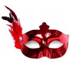 Máscara Roja con Pluma    Glamourrrrrr, una máscara o antifaz brillante en color rojo en cuyo lado derecho tiene una preciosa pluma que le da un toque de lo más fashion!