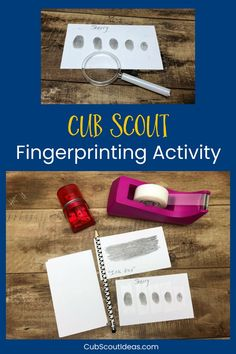 How to Do a Kids' Forensics Fingerprint Activity This easy kids' fingerprint activity helps them learn how to take their own fingerprints. They'll have fun using science to analyze their fingerprints and to compare them to their friends. This method isn't Cub Scout Law, Cub Scouts Wolf, Beaver Scouts, Tiger Scouts, Scout Mom, Girl Scouts, Cub Scout Skits, Scout Games, Cub Scout Activities