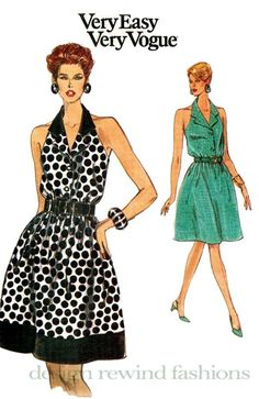 1990s HALTER DRESS PATTERN Very Easy Vogue 8268 Button Front A-Line ShirtDress Size 8 10 12 Bust 31.5 32.5 34 UNCuT Womens Sewing Patterns by DesignRewindFashions on Etsy