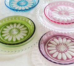 Estate Etched Glass Plates (Set of 4) @ Pottery Barn - $50.00