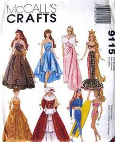 Image detail for -Uncut Sewing Pattern- Barbie doll clothes, 11 1\/2 inch doll- McCalls ...
