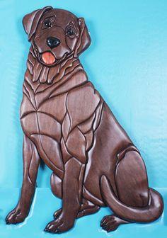 Labrador Retriever Wood Intarsia Sculpture