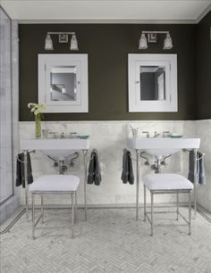 Charcoal gray and white create a modern bathroom color scheme. Love the herringbone floor. Gray And White Bathroom, Home, Trendy Bathroom, Grey Walls, Herringbone Floor, White Bathroom, Painting Bathroom, Beautiful Bathrooms, Grey Bathrooms