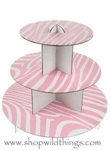 "Cardboard Cake Stand 12"" x 10"" - Zebra - Pink & White http://www.shopwildthings.com/cardboardcakestandzebralightpinkandwhite.html#"