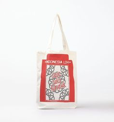 """Tote Bag Saya Suka Kerupuk Merah by Indonesia Loh. A tote bag crafted in canvas as material in white color with cool typography written """"Saya Suka Kerupuk"""" in Red Color. The tote bag has size dimension:15cm x 19cm.  http://www.zocko.com/z/JKA9k"""