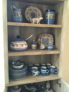 A display of Polish Pottery collection