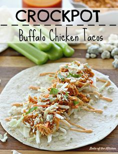 These Crockpot Buffalo Chicken Tacos are full of flavor and so easy to prepare. Top them off with a drizzle of homemade buffalo ranch for a yummy dinner!