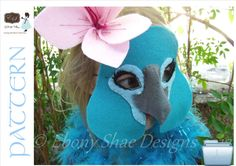 Blue Macaw mask PATTERN.  One size fits most.  by EbonyShae, $4.00