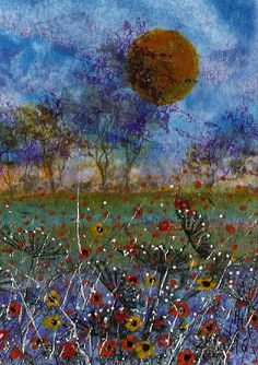 "LAST WEEK OF SALE - ACEO Original ""Sunset"" Painting By Hélène Howse  #Miniature"