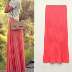 Tropical Long Pleated Chiffon Maxi Skirts