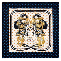La maison française dévoile Brides de Gala Love, un carré de soie inspiré d'un modèle de 1957 dorénavant orné de petits cœurs aux tons orange et bleu, et présenté dans une boîte en forme de cœur...