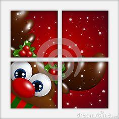 Christmas cartoon reindeer looking by the window