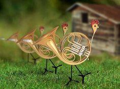 french horn yard art Music Jokes, Music Humor, Horn Instruments, Mellophone, Twelve Days Of Christmas, Cozy Christmas, Band Nerd, French Horn, Music Gifts