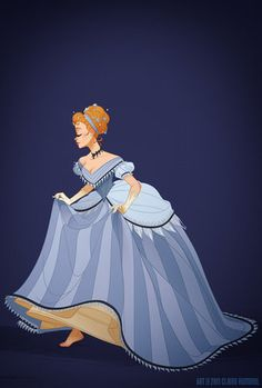 Claire's gown for Cinderella is from the mid-1860s, which would complement the bustle-dress getups worn by the ugly stepsisters. Illustration by Claire Hummel