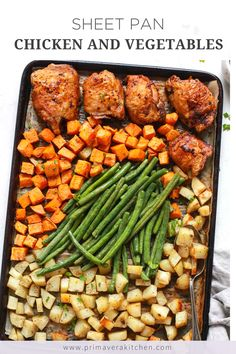 Sheet pan chicken with vegetables uses fresh ingredients pantry staples for a delicious meal. Make this recipe tonight in just under an hour! Seasoned Potatoes, Recipe Tonight, Different Vegetables, Baked Chicken Recipes, Chicken And Vegetables, One Pot Meals, Kitchen Recipes, Sheet Pan, Stuffed Peppers