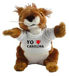 Ardilla personalizada de peluche (juguete) con Amo Carolina en la camiseta (nombre de pila/apellido/apodo) #regalo #arte #geek #camiseta