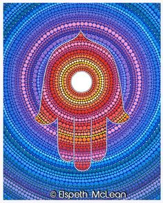 'Hamsa- Protection against the Evil Eye' Canvas Print by Elspeth McLean Dot Art Painting, Mandala Painting, Stone Painting, Hamsa Art, Elspeth Mclean, Mandala Dots, Flower Of Life, Aboriginal Art, Evil Eye