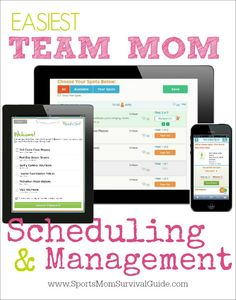 EASIEST Team Mom Scheduling and Management...also great for classroom moms, teachers, coaches, and event organizers!!