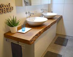 Solid wood vanity - the highlight in your bathroom .- Waschtisch aus Massivholz – das Highlight in Ihrem Badezimmer – Holzwunder Solid wood vanity – the highlight in your bathroom – a wood wonder - Wood Slat Wall, Wood Slats, Diy Bathroom Vanity, Wood Bathroom, Wc Design, Wood Vanity, Bathroom Interior Design, Solid Wood, Sink