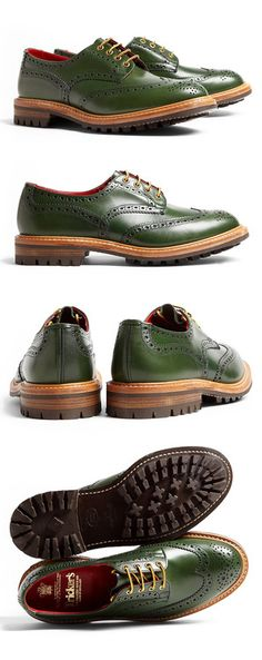 These shoes are HOT! Tricker's Green Commando Brogue Bourton Shoes