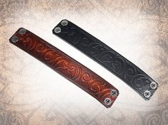 Samoan Leather Cuff Leather Wristband Embossed by LabyrinthLeather